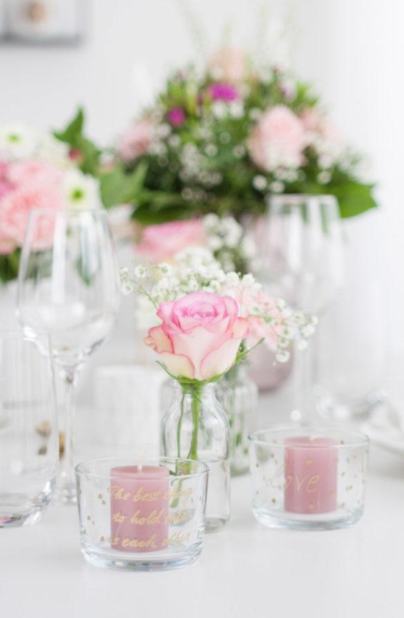Tischdekoration romantisch - Hochzeit Valentinstag