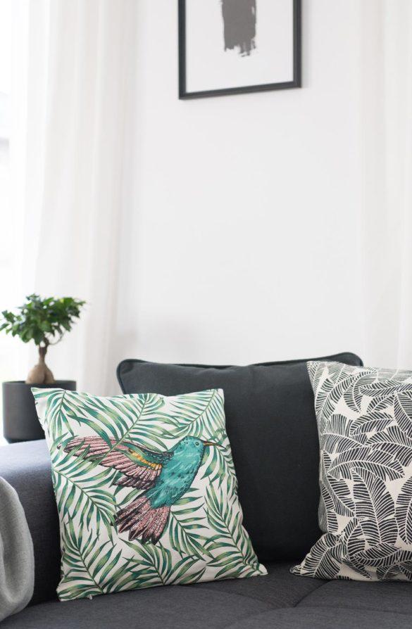Sofa Kissen grün Kolibri